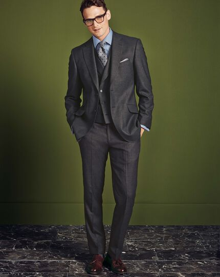 Charcoal slim fit British serge luxury suit trousers