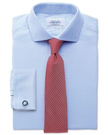 Extra slim fit cutaway collar non-iron textured herringbone sky blue shirt