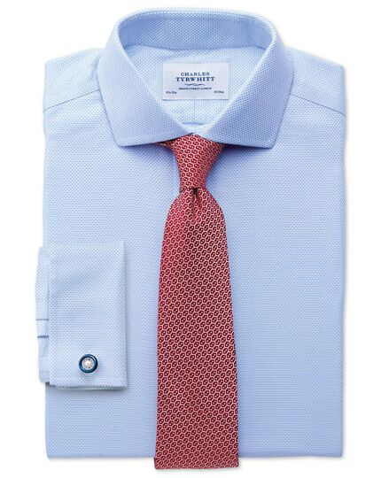 Extra slim fit spread collar non-iron textured herringbone sky blue shirt