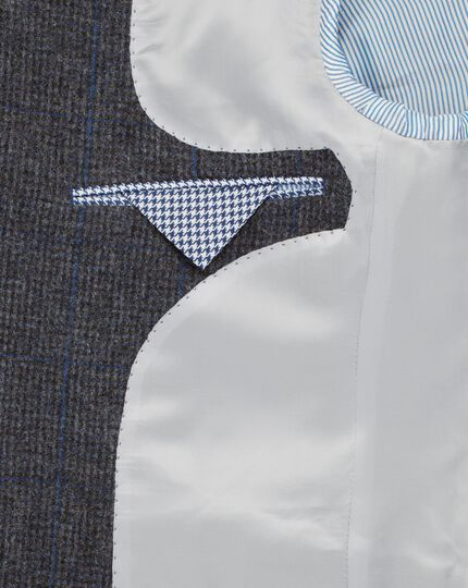 Grey classic fit windowpane British tweed jacket