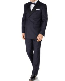Navy slim fit double breasted dinner suit