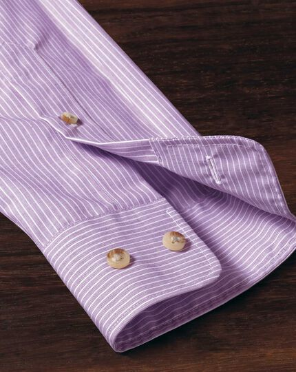 Extra slim fit non-iron poplin lilac stripe shirt