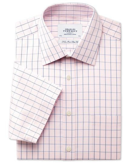 Slim fit non-iron grid check pink short sleeve shirt
