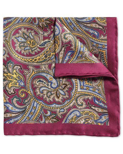 Pochette de costume classique myrtille et or à motif cachemire décoré