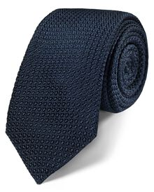 Navy silk luxury Italian grenadine plain slim tie