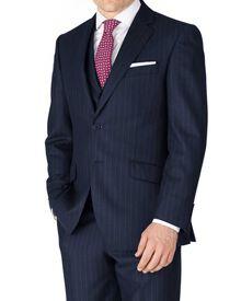 Navy stripe classic fit saxony business suit jacket