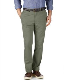 Light green slim fit flat front chinos