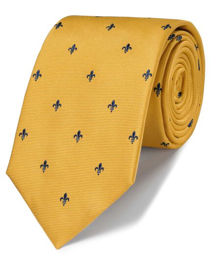 Gold and navy silk classic Fleur-de-Lys tie
