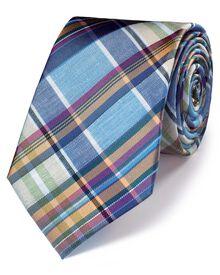 Blue multi silk classic tartan check tie