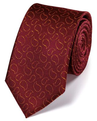 Burgundy and gold silk Oxford paisley classic tie