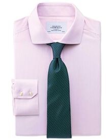 Slim fit cutaway collar non-iron mouline stripe pink shirt