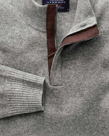 Silver grey cashmere zip neck jumper