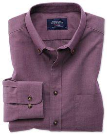 Slim fit non-iron twill purple shirt