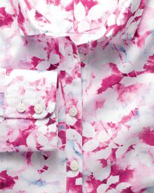 Women's semi-fitted cotton poplin pink multi watercolour shirt
