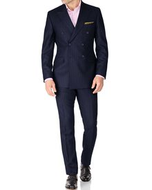 Navy stripe saxony double breasted suit