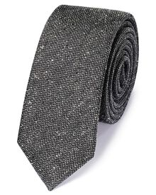Grey silk mix slim donegal plain classic tie