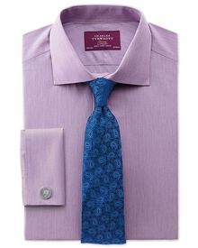 Slim fit semi-spread collar luxury poplin lilac shirt