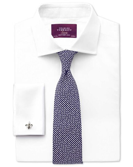 White and navy silk end-on-end luxury tie