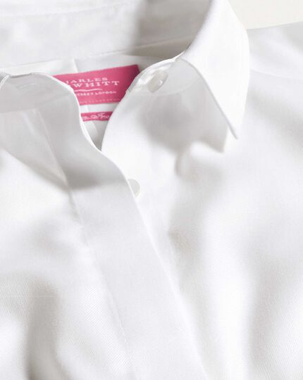 Women's semi-fitted non-iron cotton twill white shirt