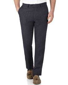Navy slim fit linen pants