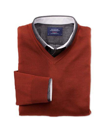 Burnt orange merino wool v-neck jumper
