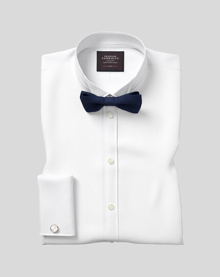 Slim fit wing collar luxury marcella white tuxedo shirt