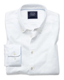 Extra slim fit button-down washed Oxford plain white shirt