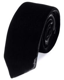 Slim black velvet luxury tie