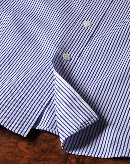 Slim fit semi-spread collar luxury poplin stripe blue shirt