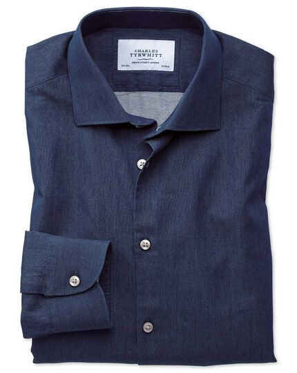 Slim Fit Business-Casual Hemd in Indigo-dunkelblau