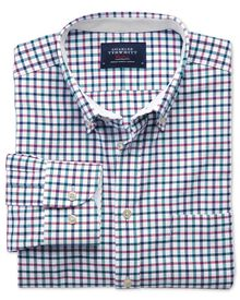 Classic fit navy and berry check washed Oxford shirt