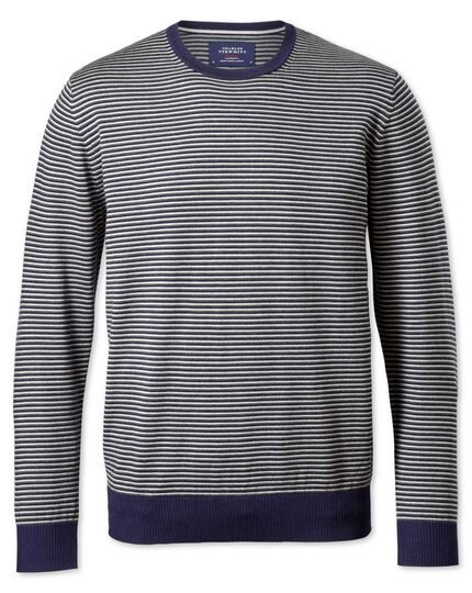 Grey and charcoal stripe merino wool crew neck jumper