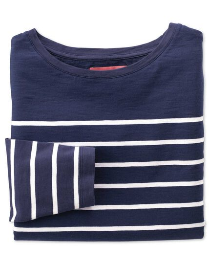 Women's navy and white breton stripe boat neck cotton jersey top