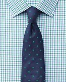 Slim fit Egyptian cotton Jermyn St check green and blue shirt