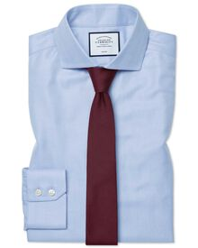 Extra slim fit cutaway non-iron herringbone sky blue shirt