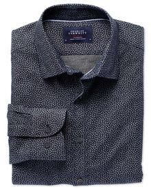 Slim Fit Hemd in marineblau und blau mit Diamantmuster