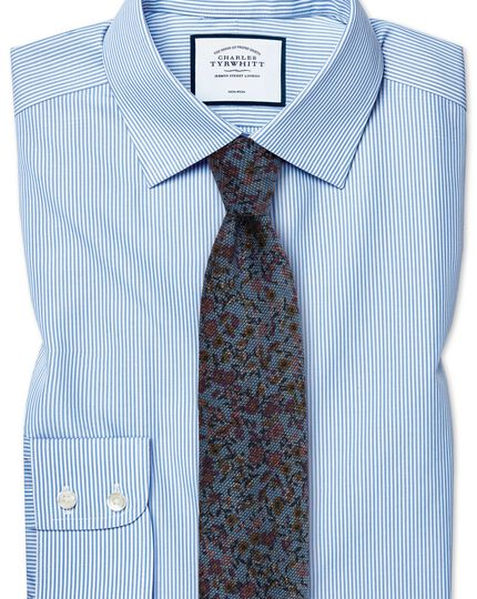 Slim fit non iron bengal stripe sky blue shirt charles for Slim fit non iron shirts
