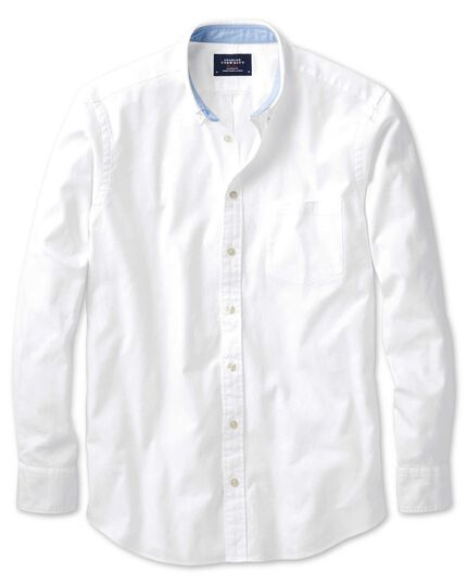 Slim fit white plain washed Oxford shirt