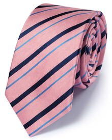 Slim pink and navy silk mix classic stripe tie