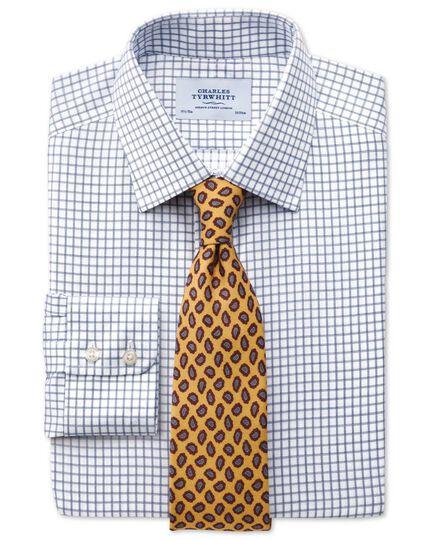 Classic fit non-iron windowpane check indigo shirt