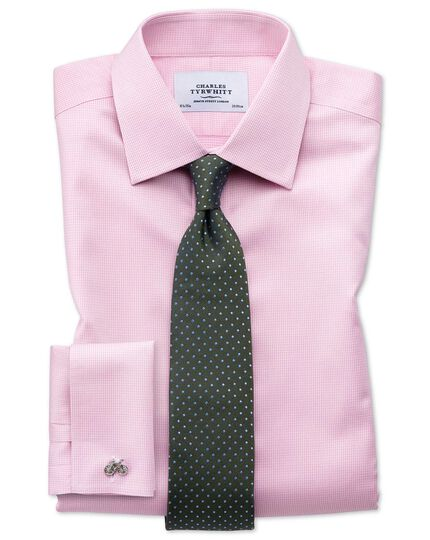 Slim fit non iron puppytooth light pink shirt