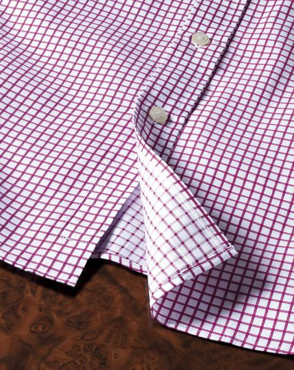 Classic fit twill grid check fuchsia shirt