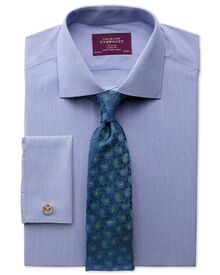 Slim fit semi-spread collar luxury poplin mid blue shirt