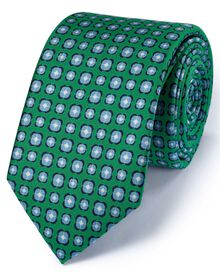 Slim green silk classic floral tie
