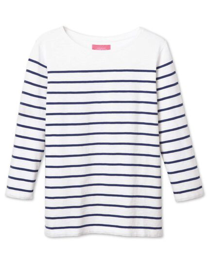 Women's white and navy breton stripe boat neck cotton jersey top
