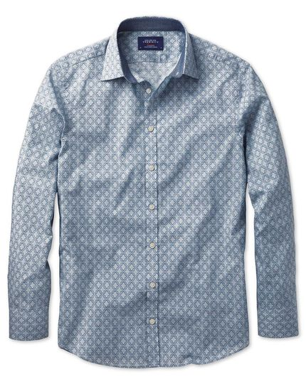 Slim fit light grey floral print shirt