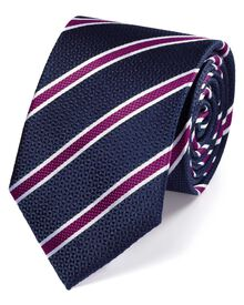 Navy and berry silk textured stripe classic tie