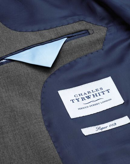 Slim Fit Businessanzug Sakko aus Twill in Mittelgrau