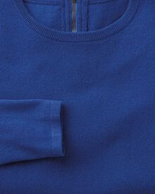 Royal blue merino cashmere zip back sweater