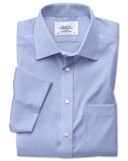 Classic fit non-iron pinpoint short sleeve sky blue shirt